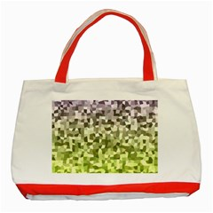 Irregular Rectangle Square Mosaic Classic Tote Bag (red) by Jojostore
