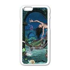 Wonderful Mermaid In The Deep Ocean Apple Iphone 6/6s White Enamel Case
