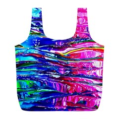 Paint Splatter   Rainbow Full Print Recycle Bag (l) by WensdaiAddamns