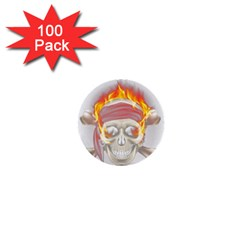 Fire Red Skull 1  Mini Buttons (100 Pack)
