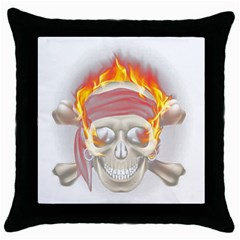 Fire Red Skull Throw Pillow Case (black)