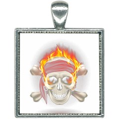 Fire Red Skull Square Necklace
