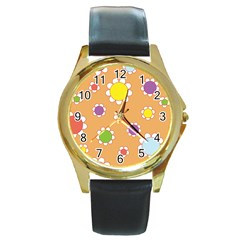 Floral Flowers Retro Round Gold Metal Watch