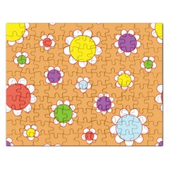 Floral Flowers Retro Rectangular Jigsaw Puzzl