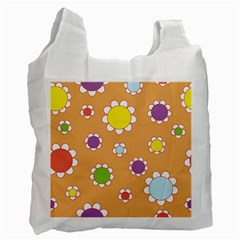 Floral Flowers Retro Recycle Bag (two Side)