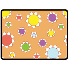 Floral Flowers Retro Fleece Blanket (large)  by Mariart