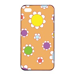 Floral Flowers Retro Apple Iphone 4/4s Seamless Case (black) by Mariart