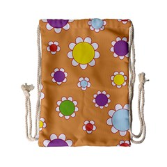 Floral Flowers Retro Drawstring Bag (small)