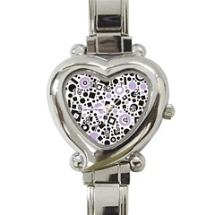 Black Versus Crocus Petal Heart Italian Charm Watch