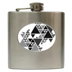 Gray Triangle Puzzle Hip Flask (6 Oz)