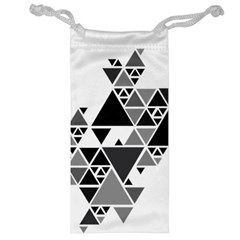 Gray Triangle Puzzle Jewelry Bag by Mariart