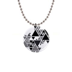 Gray Triangle Puzzle 1  Button Necklace