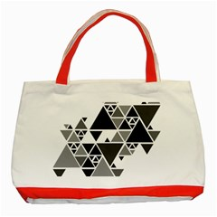 Gray Triangle Puzzle Classic Tote Bag (red) by Mariart