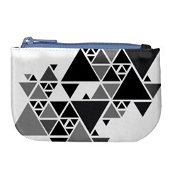 Gray Triangle Puzzle Large Coin Purse by Mariart
