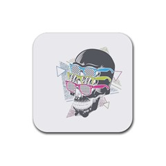 Illustration Skull Rainbow Rubber Coaster (square)  by Mariart