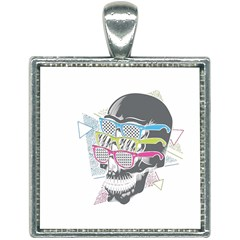 Illustration Skull Rainbow Square Necklace by Mariart