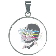 Illustration Skull Rainbow 30mm Round Necklace by Mariart