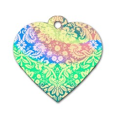 Hippie Fabric Background Tie Dye Dog Tag Heart (one Side)