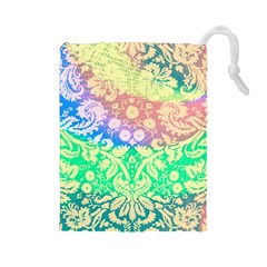 Hippie Fabric Background Tie Dye Drawstring Pouch (large) by Mariart