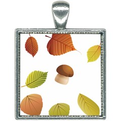 Leaves Mushrooms Square Necklace by Mariart