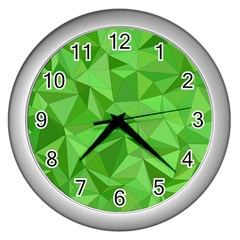 Mosaic Tile Geometrical Abstract Wall Clock (silver)