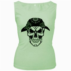 Kerchief Human Skull Women s Green Tank Top