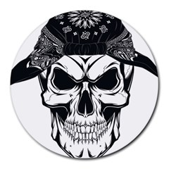 Kerchief Human Skull Round Mousepads by Mariart