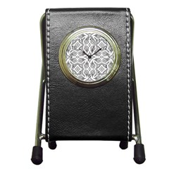 Mandala Line Art Pen Holder Desk Clock