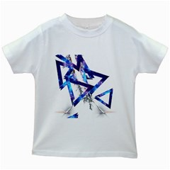 Metal Triangle Kids White T Shirts by Mariart