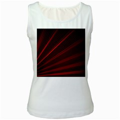 Line Geometric Red Object Tinker Women s White Tank Top