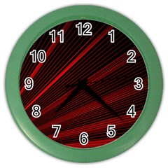 Line Geometric Red Object Tinker Color Wall Clock