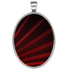 Line Geometric Red Object Tinker Oval Necklace