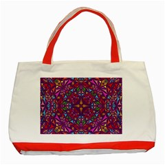 Kaleidoscope Triangle Pattern Classic Tote Bag (red) by Mariart