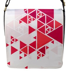 Red Triangle Pattern Flap Closure Messenger Bag (s)