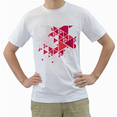 Red Triangle Pattern Men s T Shirt (white)
