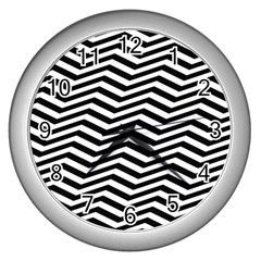 Zigzag Chevron Wall Clock (silver) by Mariart