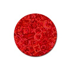 Red Pattern Technology Background Magnet 3  (round)