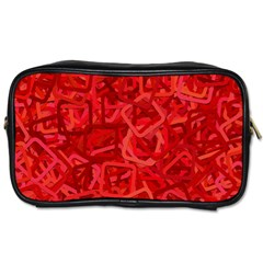 Red Pattern Technology Background Toiletries Bag (one Side)