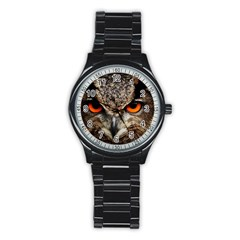 Owl s Scowl Stainless Steel Round Watch by WensdaiAddamns