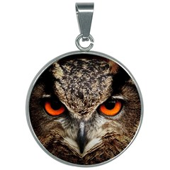 Owl s Scowl 30mm Round Necklace