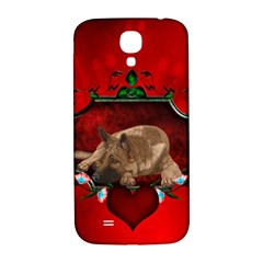 Wonderful German Shepherd With Heart And Flowers Samsung Galaxy S4 I9500/i9505  Hardshell Back Case