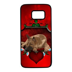 Wonderful German Shepherd With Heart And Flowers Samsung Galaxy S7 Black Seamless Case by FantasyWorld7