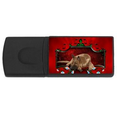 Wonderful German Shepherd With Heart And Flowers Rectangular Usb Flash Drive