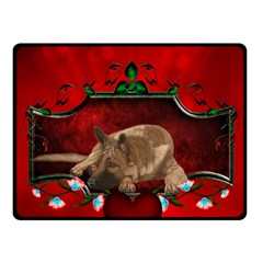 Wonderful German Shepherd With Heart And Flowers Fleece Blanket (small) by FantasyWorld7