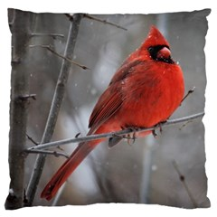 Northern Cardinal  Large Flano Cushion Case (two Sides) by WensdaiAddamns