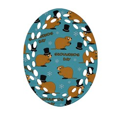 Groundhog Day Pattern Oval Filigree Ornament (two Sides)