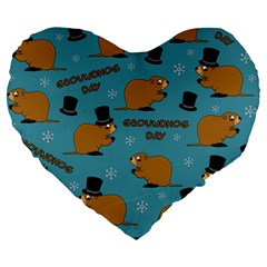 Groundhog Day Pattern Large 19  Premium Heart Shape Cushions