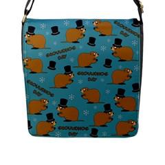 Groundhog Day Pattern Flap Closure Messenger Bag (l)