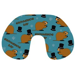 Groundhog Day Pattern Travel Neck Pillows