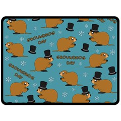 Groundhog Day Pattern Double Sided Fleece Blanket (large)